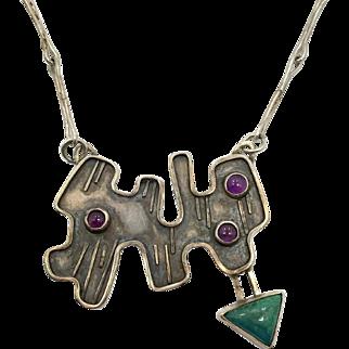 Modern Necklace, Sterling Silver, Contemporary, Mid-Century Modern, Amethyst, Chrysocolla, Studio Design, Artisan, OOAK, Unique, Unusual