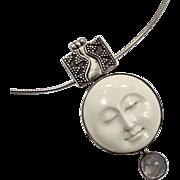 Moon Pendant, Goddess Pendant, Moonstone, Necklace, Sterling Silver, Vintage Pendant, Full Moon, Moon Goddess, Carved Bone Face, Statement