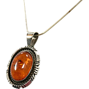 Amber Pendant, Amber Necklace, Sterling Necklace, Vintage Necklace, Native American, Sterling Silver, Honey Amber, Snake Chain