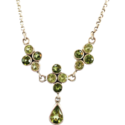 Peridot Necklace, Sterling Silver, Multi Stone, Vintage Necklace, Green Stones, Gemstones, Adjustable Chain, Faceted Stones