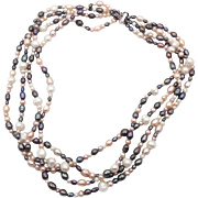Gray Pink Pearls, White Peach, Sterling Silver, Torsade, Ross-Simons Designer, Beaded Bridal, Big Statement, 4 Multi Strand, Elegant
