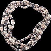 Gray Pink Pearls, White Peach, Sterling Silver, Torsade, Ross-Simons Designer, Beaded Bridal, Big Statement, 4 Multi Strand, Elegant