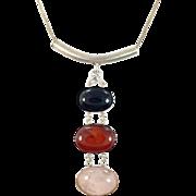 Rose Quartz Pendant, Carnelian Pendant, Black Onyx, Vintage Necklace, Sterling Silver, Modern, Contemporary, Minimalist, Long, Big, Stones