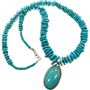 Turquoise Necklace, Sterling Silver, Turquoise Pendant, Vintage Necklace, Hand Crafted, Turquoise Beads, Southwestern, Country Western, Big