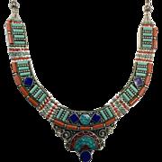 Lapis Necklace, Turquoise Coral Stone, Nepal Jewelry, Vintage Necklace, Tibetan Silver, Boho Bohemian, Tribal Ethnic, Gypsy Tibet, Stones