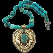 Turquoise Necklace, Tibetan Pendant, Turquoise Rabbits, Bunny, Vintage Unique, Big Statement, Boho Bohemian, Repousse, Ethnic, Beaded, Large