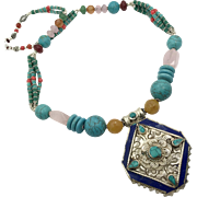 Boho Tibet Necklace, Turquoise Necklace, Rose Quartz, Lapis, Howlite, Nepalese, Vintage, Nepal Beaded, Tibetan Silver, Large, Big, Bohemian