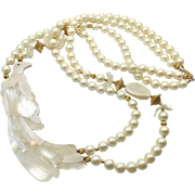 Bird Necklace, Vintage Necklace, Mother of Pearl, MOP, 1980s, 80s, White, Beaded Necklace, Massive, Oversized, Sea Shell, Double Strand