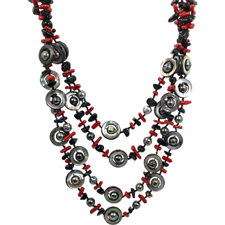 Black Red Necklace, Vintage Necklace, Hand Knotted, Black Jet Stone, Dyed Red Coral, Abalone Shell, Beads, Pearls, Multi Strand, Statement
