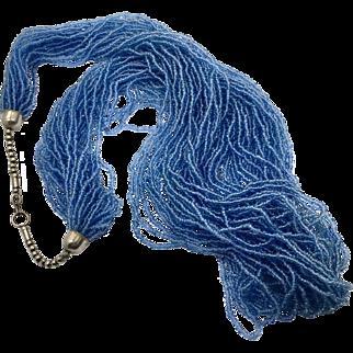 Blue Glass Necklace, Torsade, Vintage Necklace, 29 Strands, 70s, Boho Necklace, Multi Strand, Seed Beads, Statement Necklace, Big, Massive