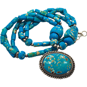 Turquoise Necklace, Glass Beaded, Vintage Necklace, Unique, Big Statement, Boho Ethnic, Bohemian, Hippie Chic, Retro, Boho Jewelry, Chunky