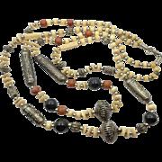 """Boho Necklace, Long, Beaded Stone, Bone, Silver, 32"""" Long, Vintage, Bohemian, Boho Statement, Ethnic Tribal, Large Big Huge, Double Strand"""