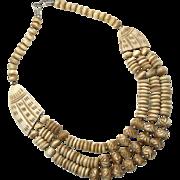 Bone Necklace, Wood, Big Statement, Vintage Necklace, Carved Bone, Multi Strand, Bohemian Boho, Massive Huge, Ethnic Tribal, Oversized