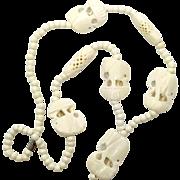Elephant Necklace, Carved Bone, Vintage Jewelry, African, Ethnic Tribal, Cream, Beaded Necklace, Boho Bohemian, Pendant, Pierced Beads