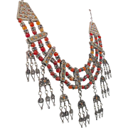 Carnelian Necklace, Vintage Necklace, Gypsy Necklace, Stone, Silver, Ornate, Detailed, Beaded, Afghan, Kuchi, Large, Statement Jewelry