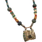 Clay Necklace, Boho, Ceramic, Vintage Necklace, Unique, Trade Beads, Turquoise, Brown, Artisan, Handcrafted, Beaded , Unusual, Big, Large