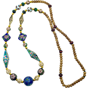 Cloisonne Necklace, Vintage Jewelry, Blue, Green, Brown, Flowers, Cloisonne Beads, Boho, Long Necklace, Beaded, Unique Beads, 1970s 70s