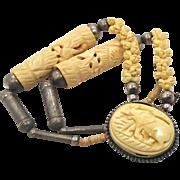 Elephant Necklace, Carved Bone, Vintage 1940s, Ethnic Tribal, Big Statement, Bohemian, Boho Gypsy, African, Beaded Necklace, Large Necklace