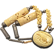 Elephant Necklace, Carved Bone, Vintage 1940s, Ethnic Tribal, Big Statement, Bohemian, Boho Gypsy, African, Beaded Necklace, Large Necklace