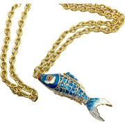 """Fish Necklace, Enameled Blue, Articulated, Vintage Necklace, Chinese, Koi Fish, Gold, 32"""" Long, Big, Statement, Large"""