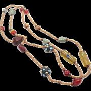 Boho Necklace, Long Beaded Necklace, Glass Cane Stone, Vintage Jewelry, Gypsy Necklace, Unique Old Beads, Bohemian, Bohemian, Boho Statement