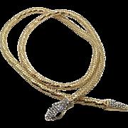 Gold Mesh Snake, Vintage Necklace, Vintage Belt, Rhinestone, Adjustable, Convertible, Boho Statement, Evening, Egyptian, Gothic, Fantasy
