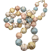 Pink Necklace, Pastel,1960s, New Old Stock, Vintage Necklace, Gold, Blue, Yellow, Plastic, Lucite, Beaded, Retro Necklace, Kitschy, Chunky