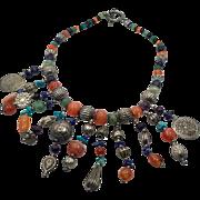 Gypsy Necklace, Lapis, Agate, Boho Necklace, Vintage Necklace, Stone Necklace, Beaded, Statement Bib, Silver, NOS, Ethnic Tribal, Large