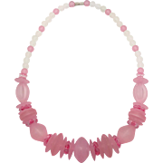 Pink Necklace, Vintage Necklace, 1960s, New Old Stock, Frosted Plastic, Statement, Beaded, Retro Necklace, White Frosted, Kitschy, Chunky