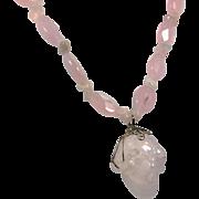 Rose Quartz Necklace, Skull Pendant, Carved Pendant, Rose Quartz Skull, Pink Stone, Beaded, Big Statement, Large, Rose Quart Necklace