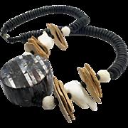 Shell Necklace, Abalone, Vintage Necklace, Seashells, Black, Purple, Wooden, Massive, Oversized, Big Statement, 1980s, Boho, Beaded, Chunky