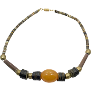 Shell Necklace, Bakelite Bead, Vintage Necklace, Surfer Necklace Brass Beads, Rustic, Heishi Beads, Boho Jewelry