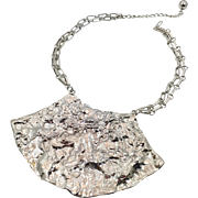 Modern Necklace, Silver Metal, Brutalist Style, Massive, Bib Necklace, Statement, Vintage Necklace, 1980s, Textured Metal, Chain, Big, Large