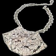 Modern Necklace, Silver Metal, Brutalist Style, Massive, Bib Necklace, Statement, Vintage Necklace, 1980s, Textured Metal, Chain, Big, Large