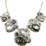 Modern Necklace,1980s, Silver, Rhinestone, Black, Vintage Necklace, Glass Jewels, Huge, Oversized, Bib Necklace, 80s, Massive, Large
