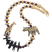 Animal Necklace, African, Giraffe, Zebra, Vintage Necklace, Jungle, 1980s, Oversized, Carved Wood, 80s, Wooden Beads, Ethnic Tribal, Chunky