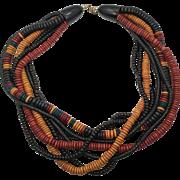 Wood Necklace, Boho Statement, Beaded Necklace, Vintage, Multi-Strand, Black, Brown, Oversized, Bohemian Gypsy, Large Torsade, Ethnic Tribal