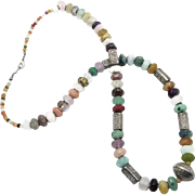 Mixed Stone Necklace, Rose Quartz, Purple Amethyst, Gemstone Beaded, Long, Ethnic Tribal, Bohemian, Boho Statement, Silver, Multi Gemstone
