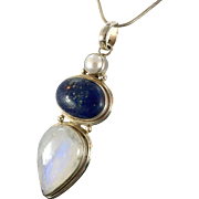 Moonstone Necklace, Moonstone Pendant, Lapis Pendant, Sterling Silver, Vintage Pendant, Vintage Necklace, Sterling Chain, Big, Large, Pearl