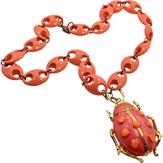 Lady Bug, Ladybug Necklace, Vintage Necklace, Enameled, Gold Metal, Lucite, Orange, Pink Necklace, Unique, Retro, Mod, Insect Jewelry, Big