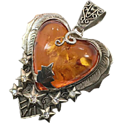 Amber Pendant, Stars, Sterling Silver, Unique, Heart Pendant, Huge, Celestial, Vintage Pendant, New Age, Statement Pendant, Handcrafted