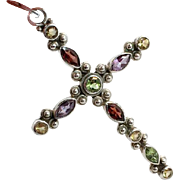 Gemstone Cross, Purple Amethyst, Sterling Silver, Green Peridot, Red Garnet, Yellow Citrine, Big, Vintage Pendant, Rainbow Stones, Large