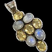 Moonstone Pendant, Pendant, Sterling Silver, Vintage Pendant, Multi Stone, Big Statement, Huge, Vintage Gemstone, Boho, Vintage Jewelry