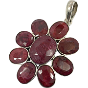 "Ruby Pendant, Sterling Silver, Vintage, Big Statement, 2 1/2"" Long, Corundum, Boho Jewelry, Bohemian, Red Stone, Ethnic Tribal, 925, Large"