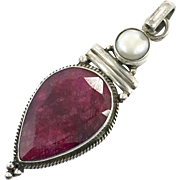 "Ruby Pendant, White Pearl, Sterling Silver, Vintage, Big Statement, 2 1/2"" Long, Corundum, Boho Jewelry, Bohemian, Red Stone, Ethnic Tribal"