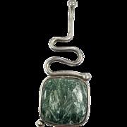 Seraphinite Pendant, Sterling Silver, Green Stone, Large, Vintage Pendant, Artisan, Studio Design, Modern, Contemporary, Unique, Big, Large