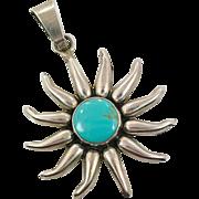 Sun Pendant, Turquoise Pendant, Sterling Silver, Vintage Pendant, Big Stone, Mexico, Large, Massive, Statement, Unique, Unusual, Huge