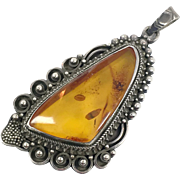 Amber Pendant, Huge Piece, Vintage Pendant, Sterling Silver, Detailed, Artisan, Studio Quality, Baltic Amber, Vintage Jewelry, Statement