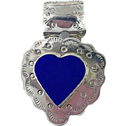 Heart Pendant, Vintage Pendant, Mexico, Sterling Silver, Blue Heart, Hand Stamped, Chiseled, Composite Lapis, Southwestern, Large, 925, Big