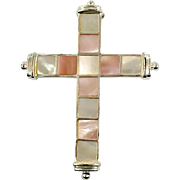 Mother of Pearl Cross, MOP Pendant, Pink, White, Sterling Silver, Vintage Pendant, Shell Cross, Pink MOP, Big, Large, Christian, Religious